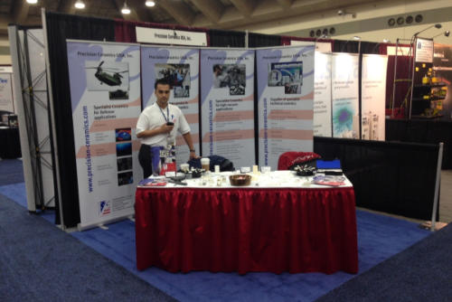 recision Ceramics USA Sales Manager, Thiago Hoffmann, on stand at AVS 2014 in Baltimore.