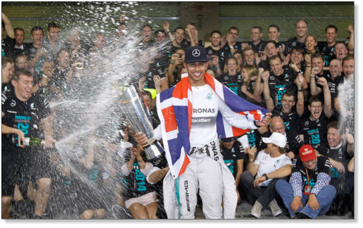 Lewis Hamilton celebrates his second world title in style.