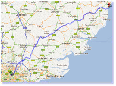The route map from Dulwich to Dunwich