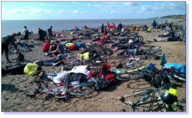Relaxing on Dunwich Beach after a long hard night's cycle ride