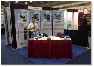 Precision Ceramics USA Sales Manager, Thiago Hoffmann, on stand at AVS 2014.