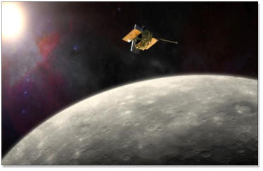he Mercury Messenger Spacecraft on 'final approach' towards the planet's surface.