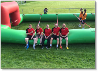 The Intrepid Precision Ceramics Team - poised and ready for Human Table Football Action.